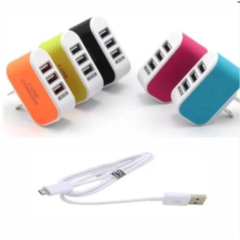 Bộ Cốc sạc điện thoại đa năng 3 cổng USB + Cáp sạc tiện ích.