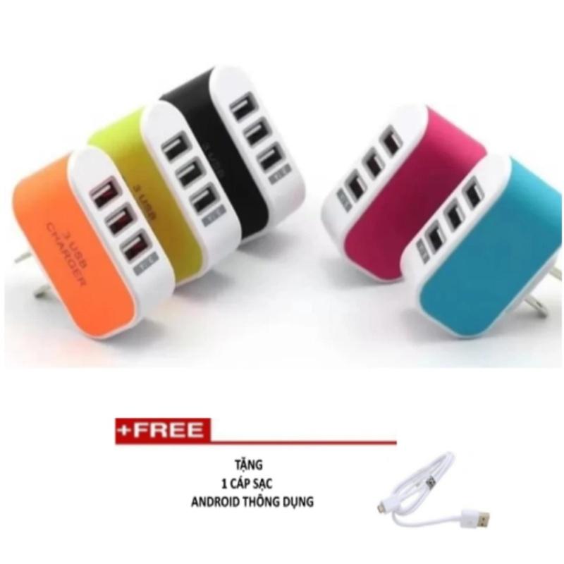 Bộ Cốc sạc điện thoại đa năng 3 cổng USB TTP-219 + Tặng 1 Cáp sạc 1 đầu thông dụng