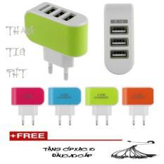 Bộ Cốc sạc điện thoại thế hệ mới 3 cổng USB + Tặng Cáp sạc 10 đầu cao cấp ( đen)