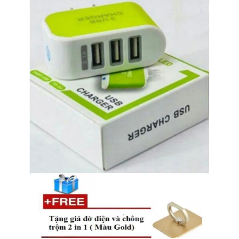 Bộ Cốc sạc siêu nhanh 3 cổng USB + Tặng giá đỡ chiếc nhẫn cao cấp