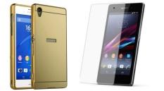 Bộ dán kính cường lực và ốp lưng Sony Xperia Z1 gương (Vàng)