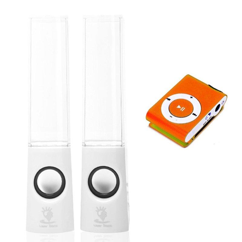 Bộ loa nhạc nước 3D (Trắng) + Máy nghe nhạc MP3 vỏ nhôm Gia Khang Phát Combo69 (cam)