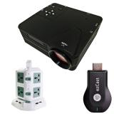 Bộ máy chiếu mini H80 + HDMI không dây Ezcast M2 + Ổ điện 2 tầng TiTiShop Combo85 (Đen phối trắng)