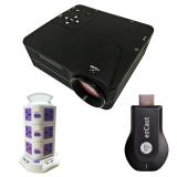 Bộ máy chiếu mini H80 + HDMI không dây Ezcast M2 + Ổ điện 3 tầng TiTiShop Combo86 (Đen phối trắng)