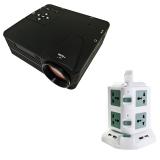 Bộ máy chiếu mini H80 + Ổ điện đa năng 2 tầng TiTiShop Combo91 (Đen phối trắng)