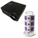 Bộ máy chiếu mini H80 + Ổ điện đa năng 3 tầng TiTiShop Combo92 (Đen phối trắng)