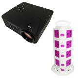 Bộ máy chiếu mini H80 + Ổ điện đa năng 4 tầng TiTiShop Combo93 (Đen phối trắng)