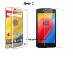 Hình ảnh Bộ ốp lưng Silicon cao cấp cho Motorola Moto C + Kính cường lực (Trong suốt)