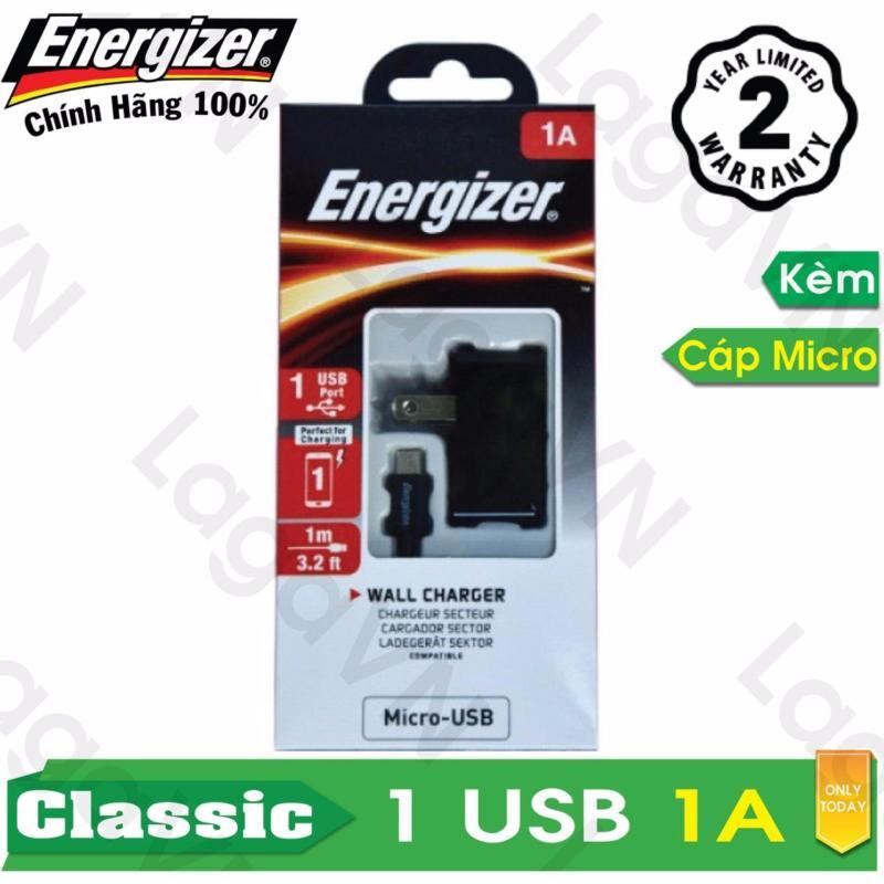 Bộ sạc cao cấp Energizer CL 1 cổng USB 1A + Cáp Micro-USB dài 1m - ACA1AUSCMC3