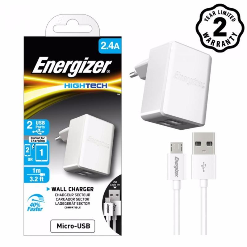 Bộ Sạc Energizer HT 2 cổng USB 2.4A Kèm Cáp Micro USB 1m - ACA2BEUHMC3/ACW2BEUHMC3
