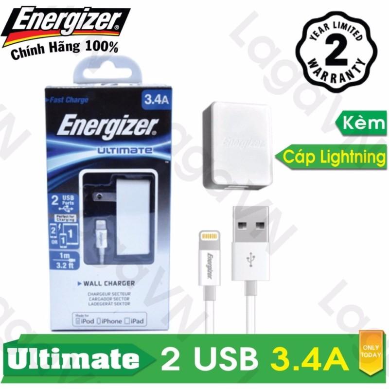 Bộ sạc cao cấp Energizer UL 2 cổng USB 3.4A + Cáp Lightning MFi dài 1m- ACA2CUSULI3