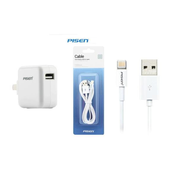 Bộ sạc + cáp Pisen 2A cho iPhone, iPad chân Lightning
