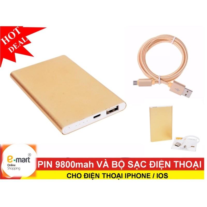 Giá Bộ sạc có dây: Pin 9800mah + cáp sạc cho điện thoại Iphone / IOS