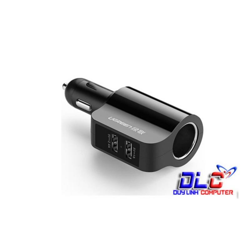 Tẩu sạc điện thoại/máy tính bảng 2 cổng USB 2.0 (5V-1A và 5V- 2.4A) mở rộng cổng sạc tẩu thuốc lá trên ô tô UGREEN CD115 20394 (đen)