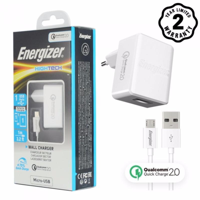 Bộ sạc Energizer 1 cổng Quick Charge QC 2.0 kèm cáp Micro USB 1m - ACW1QEUHMC3