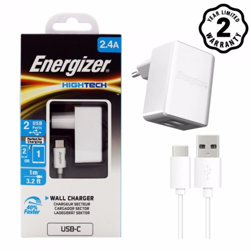 Sạc Energizer 2 cổng USB 2.4A kèm cáp USB Type C 2.0 dài 1m - ACW2BEUHC23