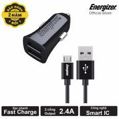 Bộ Sạc Ô Tô Energizer 3.4A 2 Cổng USB - Kèm 1 Cáp Micro USB (Black)