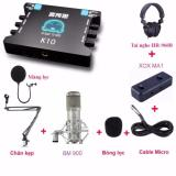 Bán Bộ Sản Phẩm Kết Hợp Livestream Karaoke Với Micro Cao Cấp Bm 900 Sound Card Xox K10 Cục Livestream Xox Ma1 Tai Nghe Hr 960B Chan Đế Mang Lọc