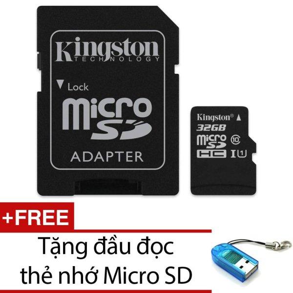 Bộ Thẻ nhớ Kingston Micro SDHC Class10 32GB và Adapter (Đen) + Tặng 1 đầu đọc thẻ nhớ PT