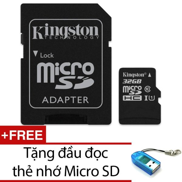 Bộ thẻ nhớ Kingston Micro SDHC Class10 32GB và Adapter (Đen) + Tặng 1 đầu đọc thẻ nhớ micro (Mẫu ngẫu nhiên)