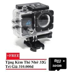 Camera hành động Waterproof 4K Sports WIFI LED 4K ULTRA HD DV (Đen)+Tặng thẻ nhớ 32GB Nhật Bản