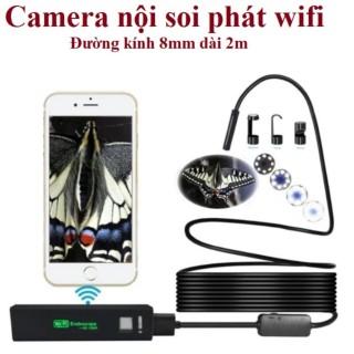 Camera nội soi phát Wifi Cáp cứng định hình chống nước IP68 có 8 đèn LED (Dài 2m) (màu đen) thumbnail