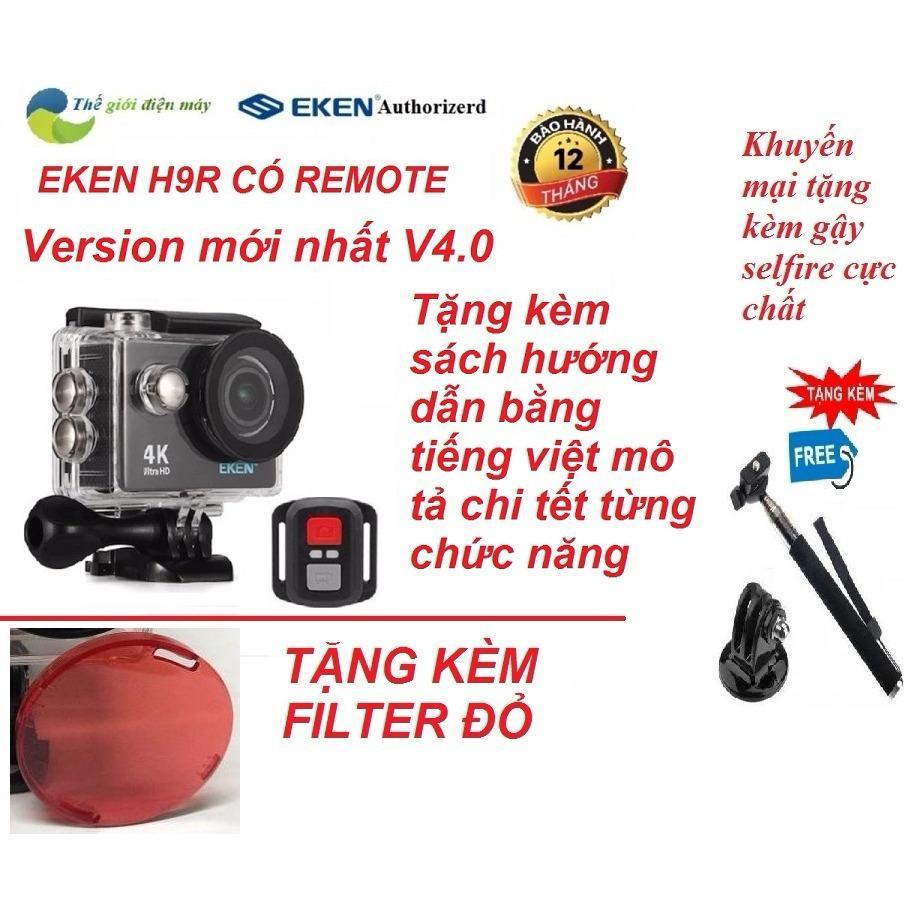 Camera Thể Thao 4K Wifi Eken H9R Có Remote Version Mới Nhất 4.0 Tặng Kèm Gậy Selfire Và Kính Lọc Đỏ