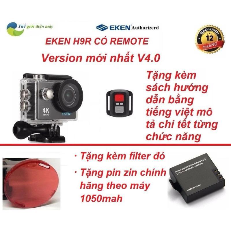 Camera thể thao Eken H9R(có remote) version 4.0 tặng kèm filter đỏ, tặng pin zin 1050mah
