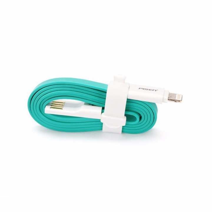 Cáp flat Apple Lightning Pisen II (Xanh Ngọc)