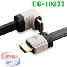 Hình ảnh Cáp HDMI 1M dẹt nghiêng góc 90 độ chính hãng Ugreen 10277 hỗ trợ 3D 4K