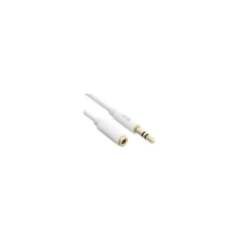 Cáp nối dài 3.5mm đầu đực sang đầu cái vỏ ABS - AV121  - 1m - trắng - 10747