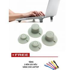 Hình ảnh Chân đế tản nhiệt hiệu quả cho laptop ( xám) + Tặng 1 đèn led siêu sáng