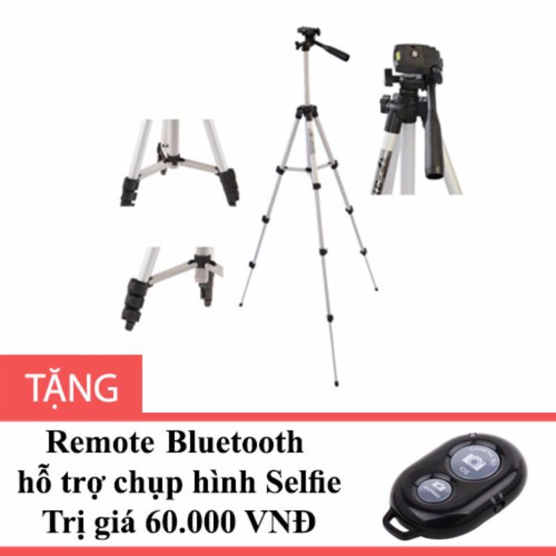 Chân Tripod TF 3110 cho điện thoại màu Bạc tặng Remote Bluetooth hỗ trợ chụp ảnh Selfie