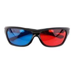 Hình ảnh CHEER Black Frame Red Blue 3D Glasses For Dimensional Anaglyph Movie Game DVD Blue - Intl - intl