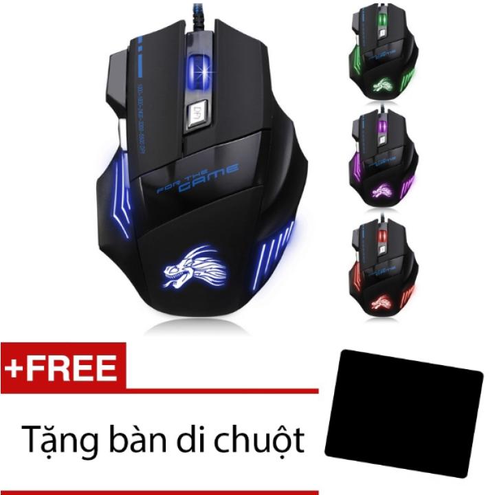 Chuột chơi game có dây Dragon X3 (Đen phối xanh)-Hàng phân phối chính hãng + Tặng miếng lót chuột