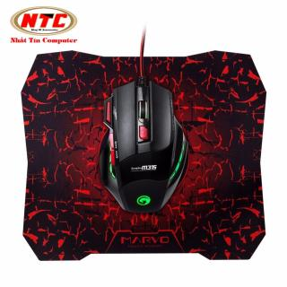 [HCM]Chuột game 6D cao cấp Marvo M315 Led đa màu (Đen) + Tặng kèm lót chuột Marvo G1 - Nhất Tín Computer thumbnail