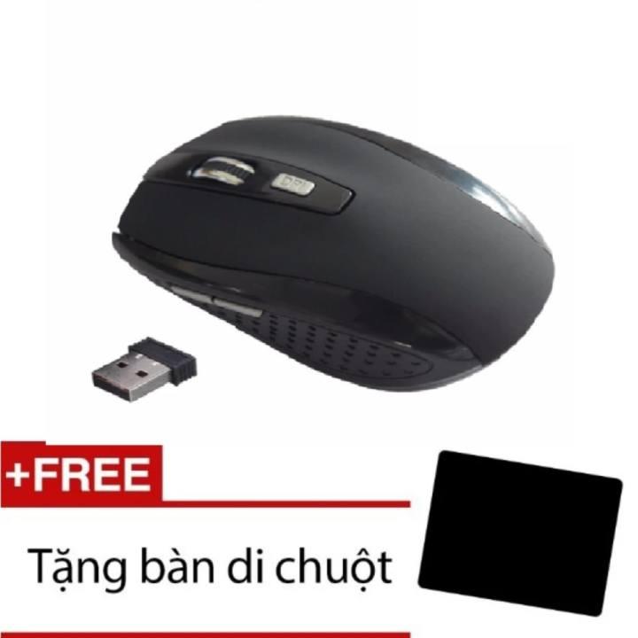 Chuột không dây 6D 7500+Tặng miếng lót chuột(đen)