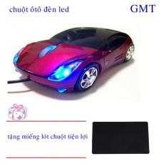 chuột vi tính hình ôtô có đèn led (đỏ phối đen) + tặng miếng lót chuột đen