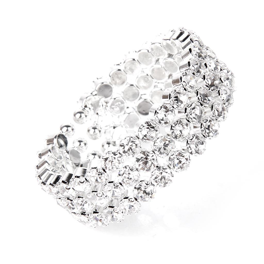 BolehDeals Fashion Wedding Bridal Clear Crystal Rhinestone 3 Rows Stretch Elastic Bangle Bracelet Rp 64 000