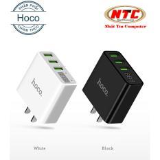 Cốc sạc 3 cổng Hoco C15 3A - màn hình LCD hiển thị điện áp (Đen) - Hãng phân phối chính thức