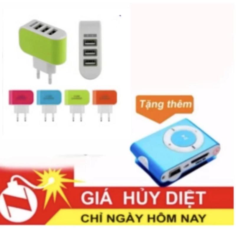 Cóc sạc 3 cổng USB cao cấp 901 + Free mp3