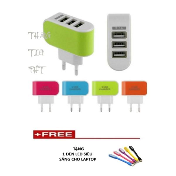 Cóc sạc 3 cổng USB + Tặng 1 đèn led siêu sáng tiện dụng