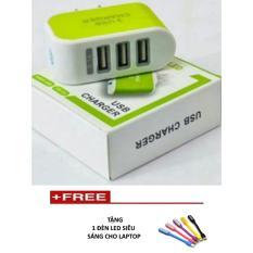 Cóc sạc 3 cổng USB TTP-217 mới (Xanh lá) +  1 đèn led  sáng cho laptop