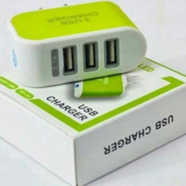 Cốc sạc chuyên dụng đa năng 3 cổng USB ( xanh lá) [PinShop]