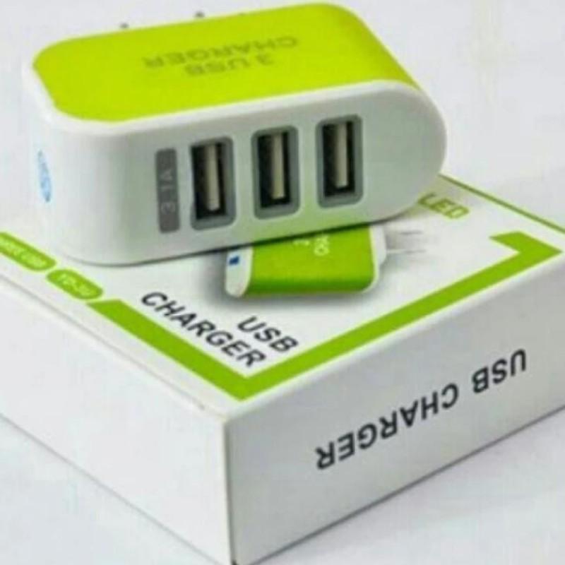 Cốc sạc chuyên dụng đa năng 3 cổng USB ( xanh lá) [TrucNgan]