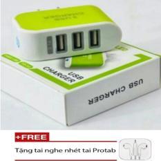 Cốc sạc điện thoại 3 cổng USB PGH-450 + Tặng 1 tai nghe nhét tai (Trắng)