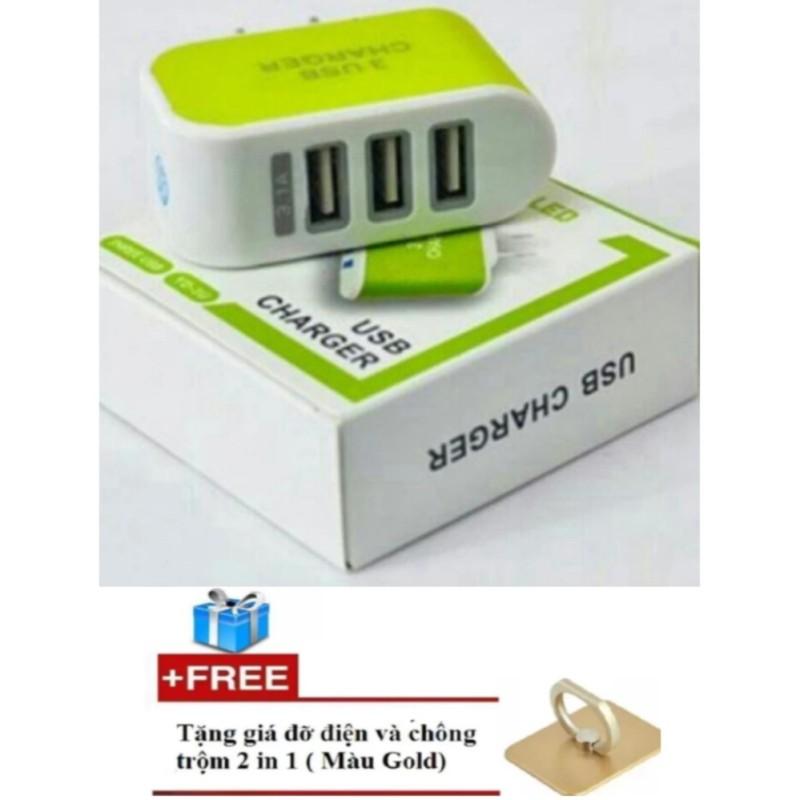 Cóc sạc điện thoại 3 cổng USB (xanh lá) + Tặng 1 giá đỡ điện thoại chiếc nhẫn cao cấp