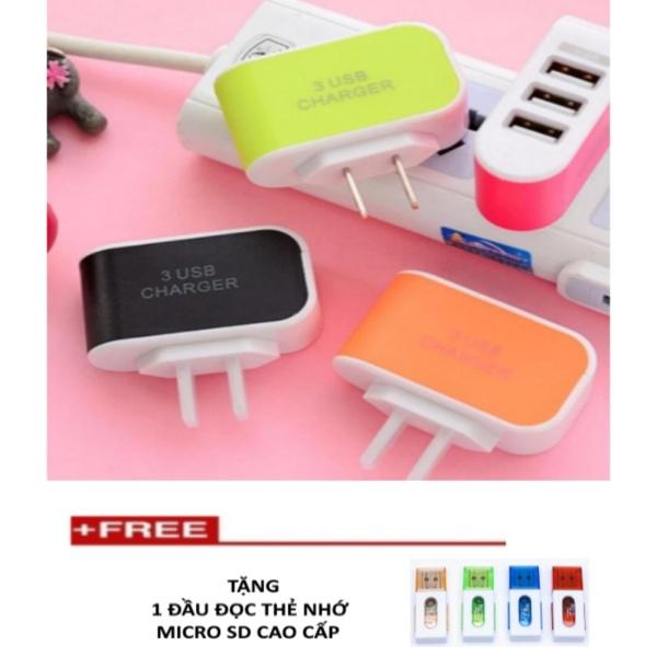 Cốc sạc điện thoại nhanh 3 cổng USB TTP-217 + Tặng 1 đầu đọc thẻ nhớ tuyệt đẹp (thẻ nhỏ) [PinShop]