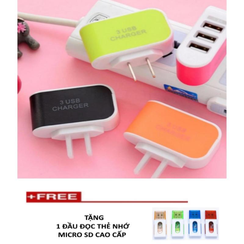 Cốc sạc điện thoại nhanh 3 cổng USB TTP-217 +  1  đọc thẻ nhớ tuyệt (thẻ nhỏ)
