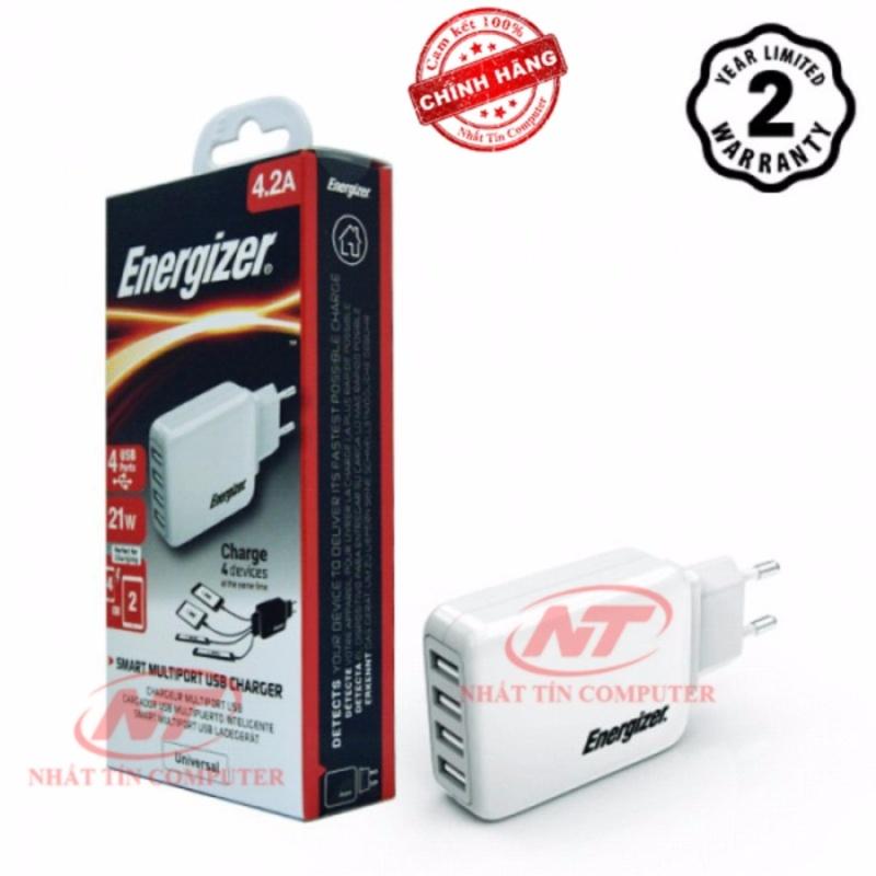 Cốc sạc Energizer 4.2A 20W CL 4 cổng USB (Trắng) - Hãng phân phối chính thức